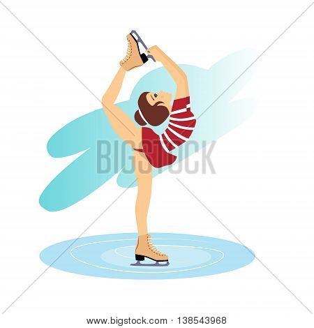 Illustration of figure skating cute girl training on the ice