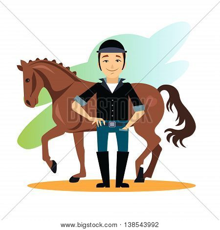 Jockey design concept set with stable equestrian sport awards flat icons isolated illustration