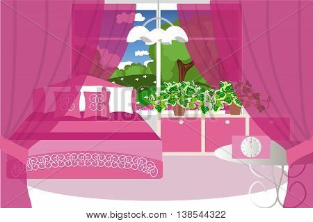 Cosy room, bedroom interior, bed, table, cupboard, plant, window, vector