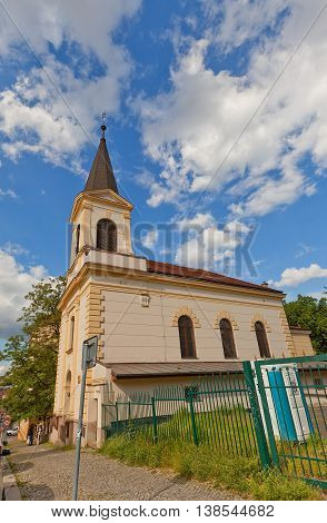 PRAGUE CZECH REPUBLIC - MAY 20 2016: Church of Saint Wenceslas (Kostel Sv. Vaclava circa 1901) in Nusle district of Prague. Nusle was independent town and became part of Prague in 1922