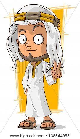 A vector illustration of cartoon arabian sheikh in headscarf