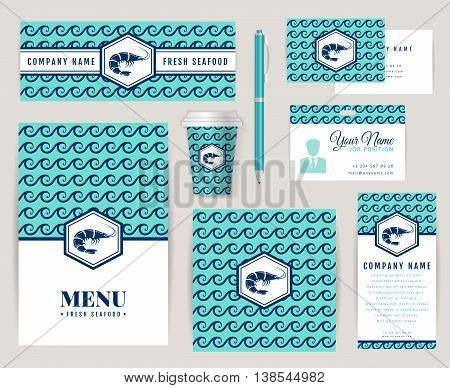 Set of corporate identity templates with shrimp logo. Seafood theme. Menu id card banners coffee cup and business card. Creative branding design for restaurant or shop. Vector collection.