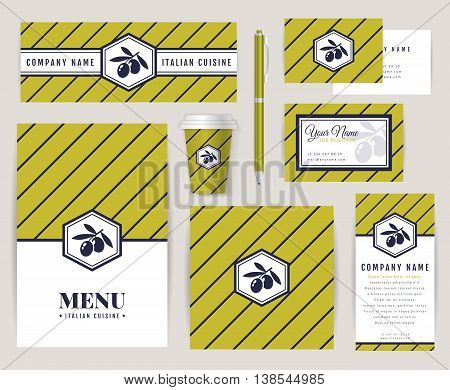 Set of corporate identity templates with olive logo. Italian cuisine themes. Menu id card banners coffee cup and business card. Elegant branding design for restaurant or cafe. Vector collection.