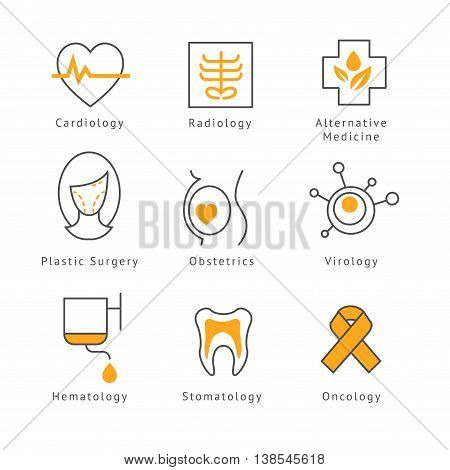 Colored Medical Health Care Icons set illustration in modern style for different use