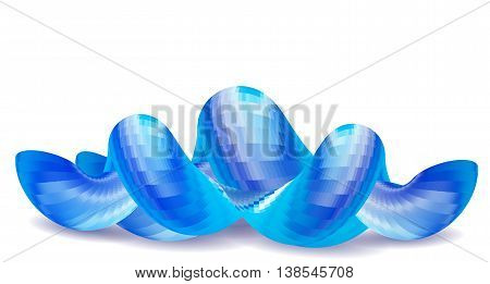 Abstract wavy blue and white object resembling intertwined tubing. Blue and white scalloped futuristic object on a white background