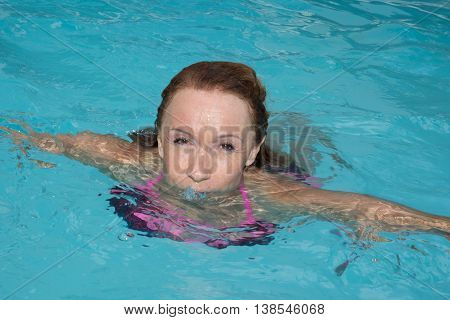 Woman Relaxing In The Water, Swimming At Summer
