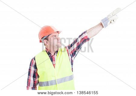 Professional Male Constructor Poiting Finger Up