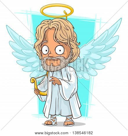 A vector illustration of cartoon good angel with nimbus and harp