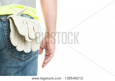 Closeup Of Construction Worker With Vest And Gloves