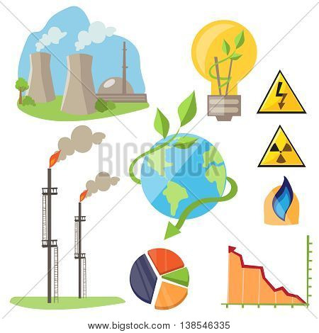 Eco energy design concept set with green fuel planet home flat icons isolated illustration