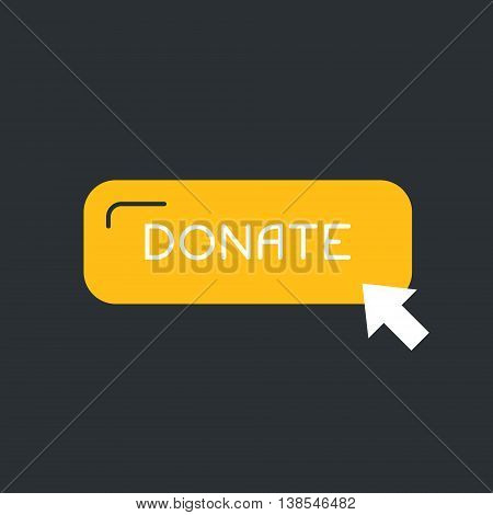 Clean and simple label donate with pointer - illustration for internet fundraising campaign, charity event, non-profit organization. Click and donate concept.