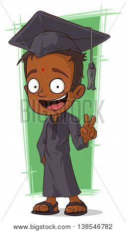 A vector illustration of cartoon happy Hindu student