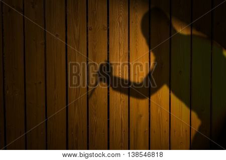 Shadow of burglar with knife at night.