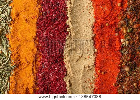Different spices background, close up