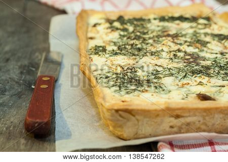 Tart, Flan, Cream, Mushrooms, Cheese And Herbs