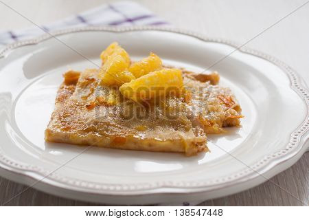 French Crepes Suzette Crepe On A Light Background