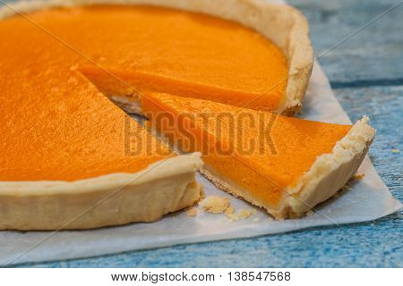 Bright Pumpkin Tart, Flan, In The Context Of Cream