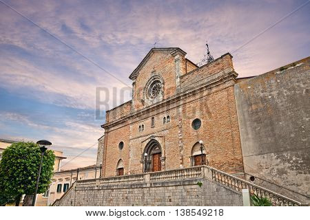 Atessa Abruzzo Italy: the medieval catholic cathedral of Saint Leucio at sunset in the old town