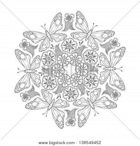 Monochrome Mendie Mandala with butterflies and flowers. Zenart inspired. Vector illustration