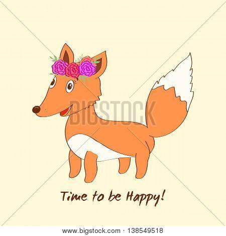 Cute vector fox. Cartoon fox. Cute fox with floral wreath.