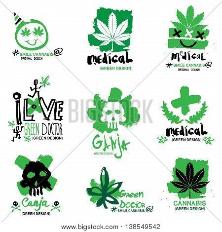 Hemp and marijuana illustration, logo, design element.