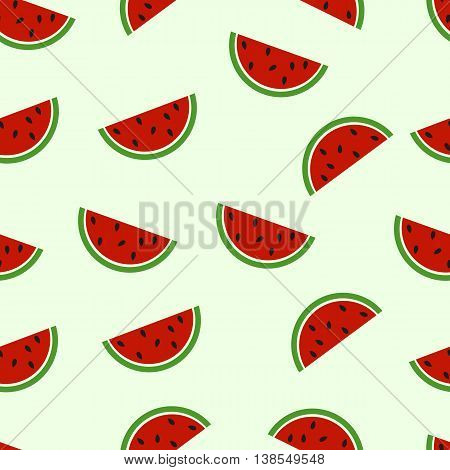 Watermelon seamless pattern. Flat watermelon background. Vector illustration