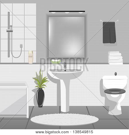 Illustration of modern bathroom interior with sink, bathtub, toilet