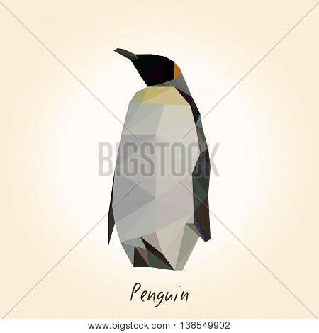 Low poly penguin. Low polygon penguin. Vector illustration.