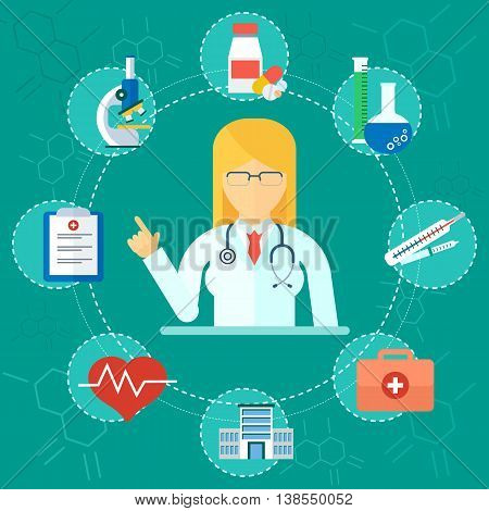 Medical Concept Woman Doctor Icons
