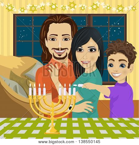 Little boy with mother and father lighting Hanukkah menorah together