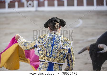 Linares Spain - August 28 2014: The Spanish Bullfighter El Fandi bullfighting with the crutch in the Bullring of Linares Spain