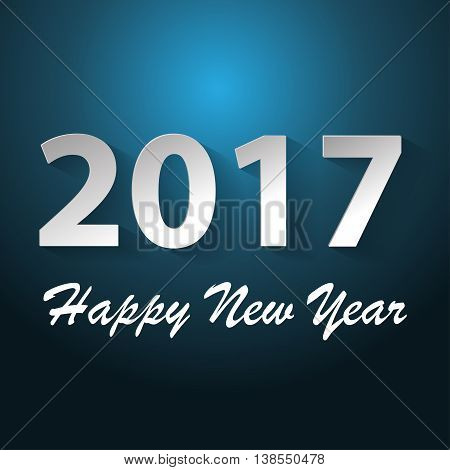 Happy New Year 2017 text white blue dim light background vector illustration.