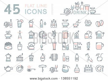 Set vector line icons drinks and alcohol: tea beer coffee wine water milk and champagne in flat design with elements for mobile concepts and web. Collection modern infographic logo and pictogram.