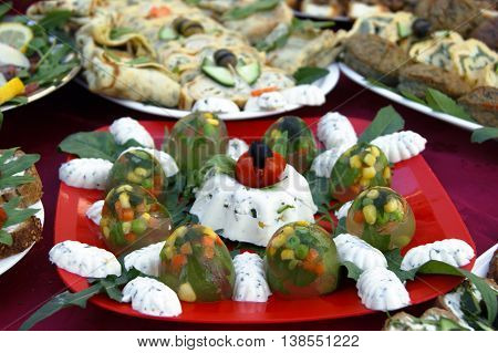A small dish of cold vegetarian appetizers