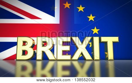 Brexit British referendum UK concept with golded sign and Union Jack and EU flag with transition effect on background 3D illustration.