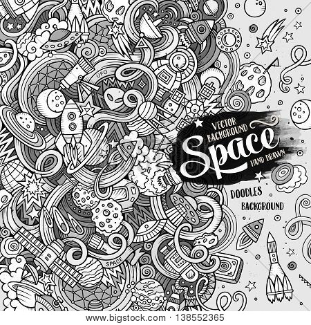 Cartoon cute doodles hand drawn space illustration. Line art detailed, with lots of objects background. Funny vector artwork. Sketch picture with cosmic theme items. Square composition