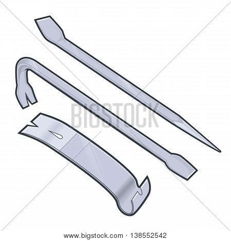 Vector cartoon clipart picture of a pry bar