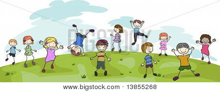 Illustration of Kids Performing Different Stunts in a Field