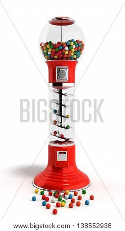 Red Vintage Gumball Dispenser Machine Made Of Glass And Reflective Plastic With Chrome Trim Filled W