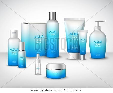 Aqua pure natural treatment cosmetic packages decorative set vector illustration