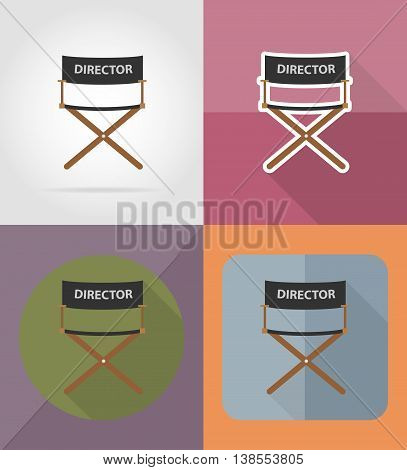 director movie chair flat icons vector illustration isolated on background