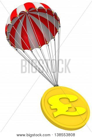 Gold coin with the symbol of the UK currency is falling down on parachute. Isolated. 3D Illustration