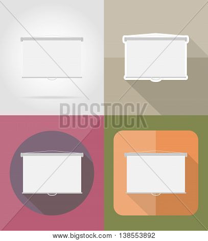 projection screen flat icons vector illustration isolated on background