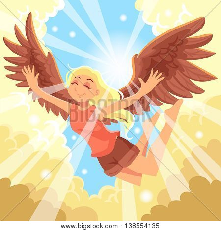 Freedom concept with flying girl sky sun and clouds flat vector illustration