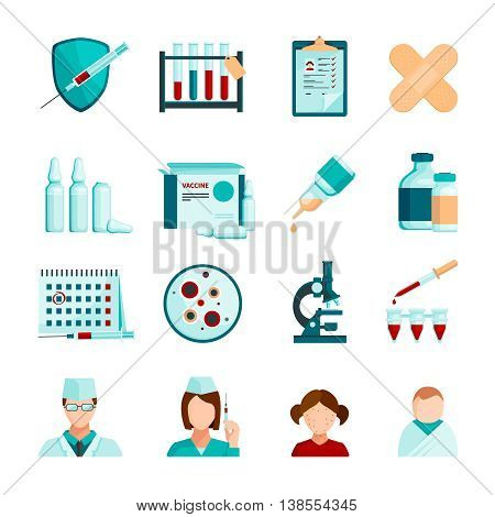 Vaccination flat colored icons set of medical staffs young patients microscope  tubes and phials with vaccine isolated vector illustration
