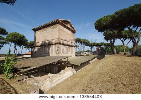 Latin Tombs public Park Valeri Burial monument in Rome Italy