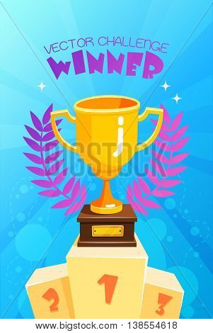 Vector challenge winner golden trophy with symbolic olive leaves prize on podium with blue bubbles background abstract illustration