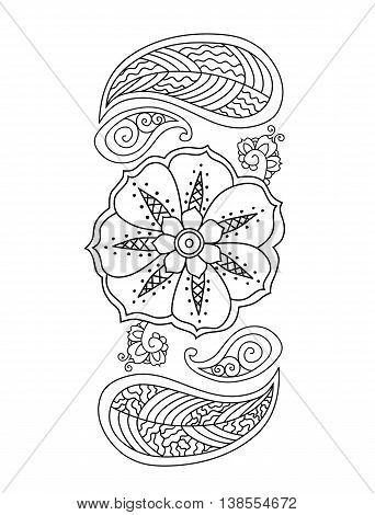 Mehendi vertical design on white background. Vector illustration