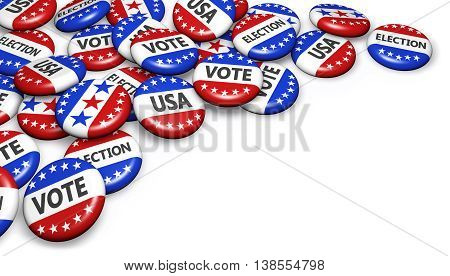 US presidential election in USA concept with sign and flag colors on campaign badges with copyspace 3D illustration.