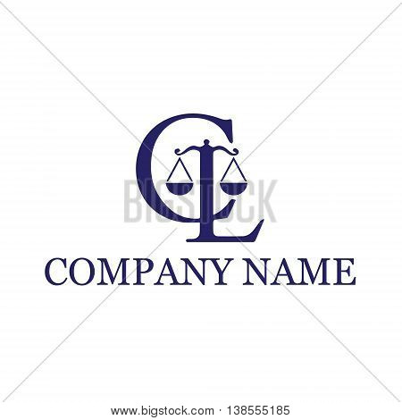 CL Law vector logo concept illustration in classic graphic line style. Law logo icon. Legal logo icon. Scales logo icon. Vector logo template. Design element.